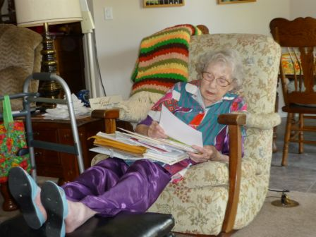 Margaret with cards 2