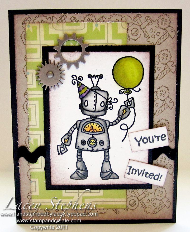 Robot Party Set Invitation 1