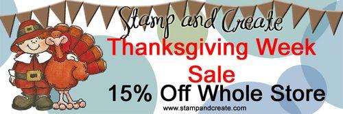 S&C 15% Thanksgiving SALE Banner
